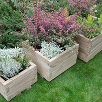 Kendal Square Wooden Garden Planter Set of 3