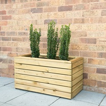 Linear Wooden Garden Planter Double