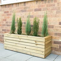 Linear Wooden Garden Planter Long