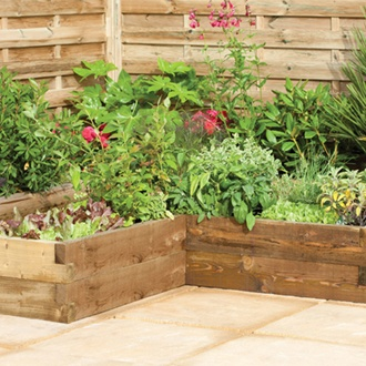 Caledonian Wooden Corner Raised Bed