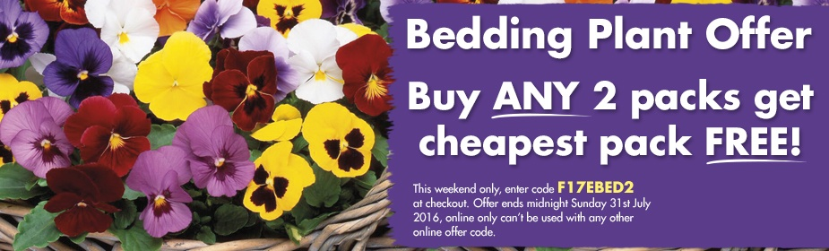 Bedding Plant Offer - Buy ANY 2 packs get cheapest pack FREE!