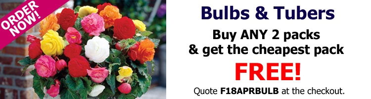 Buy ANY 2 packs of bulbs or tubers and get the cheapest pack FREE!